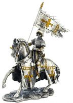 Mounted Knight with Pennant Medieval Pewter Statue